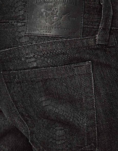 8f4c8a33d145 True Religion Black Jeans Rocco Slim Fit Snake Skin Effect on Lyst