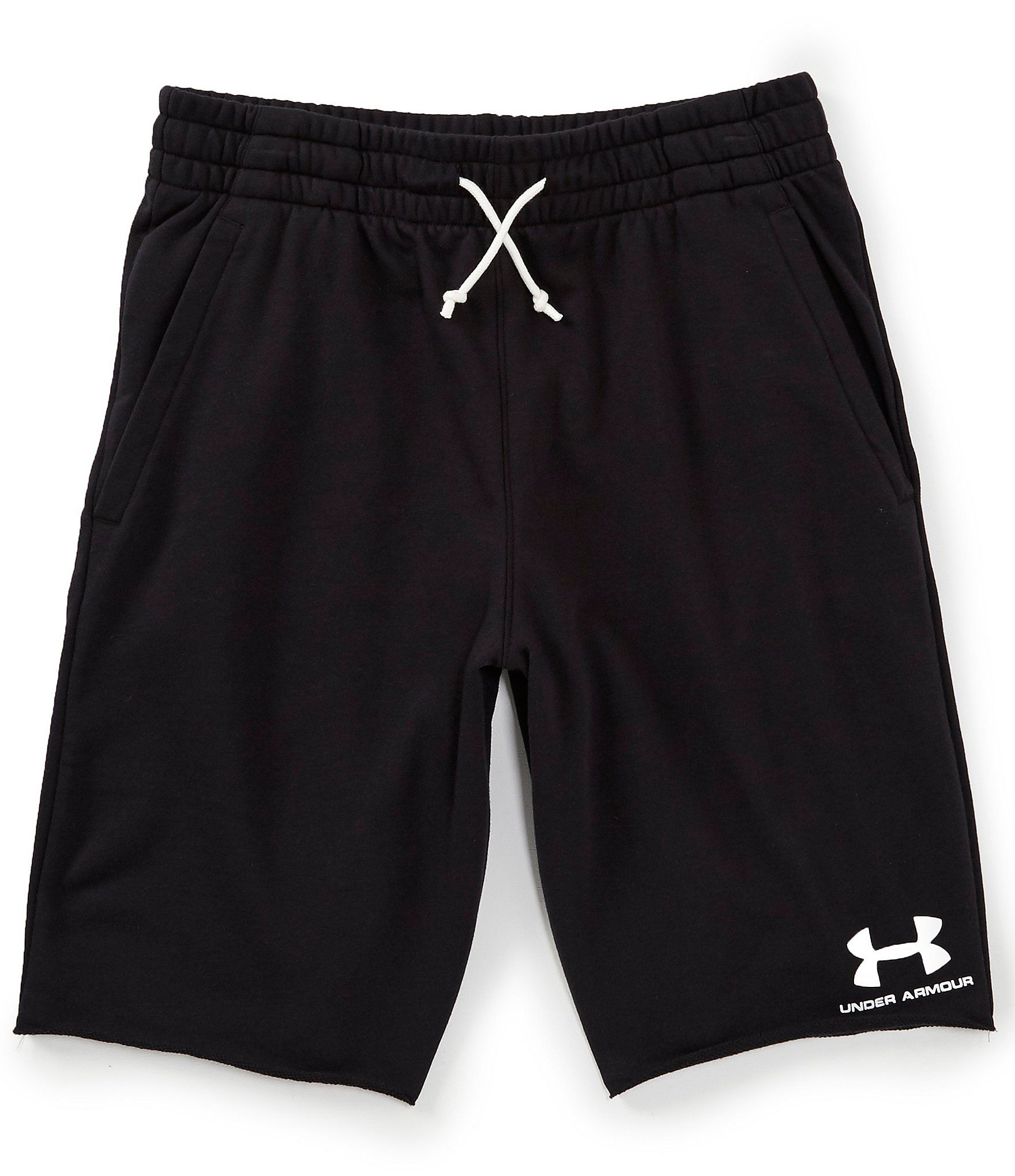 From Under Armour, these shorts feature: French Terry has a smooth outer layer & a warm, soft inner layer Material wicks sweat & dries really fast Encased elastic waistband with external drawcord & raw edge finish Open hand pockets Embroidered logo Raw edge hem Inseam: 10.5