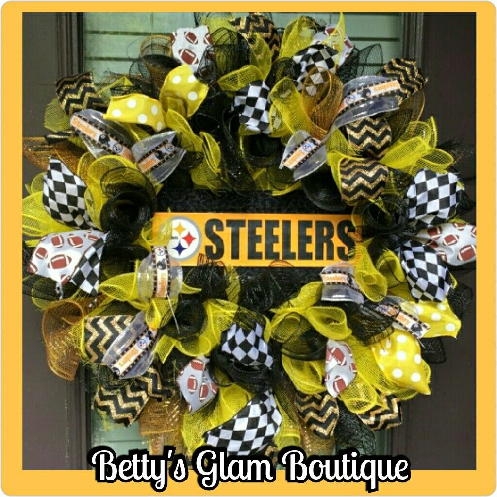 Pittsburg Steelers Wreath by Bettys Glam Boutique, Steelers Wreath ...