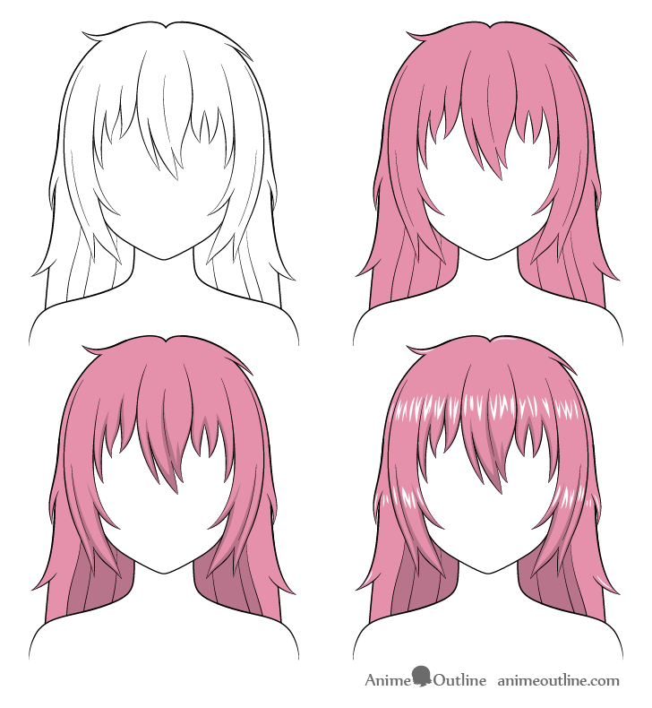 How To Shade Anime Hair Step By Step Animeoutline In 2020 Manga Hair Anime Hair How To Shade