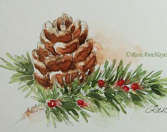 Original Watercolor Painting Pine Cone Still Life 2