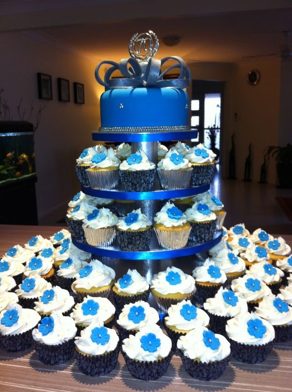 Blue Amp Silver Birthday Cake By Simplycakes Zeta In