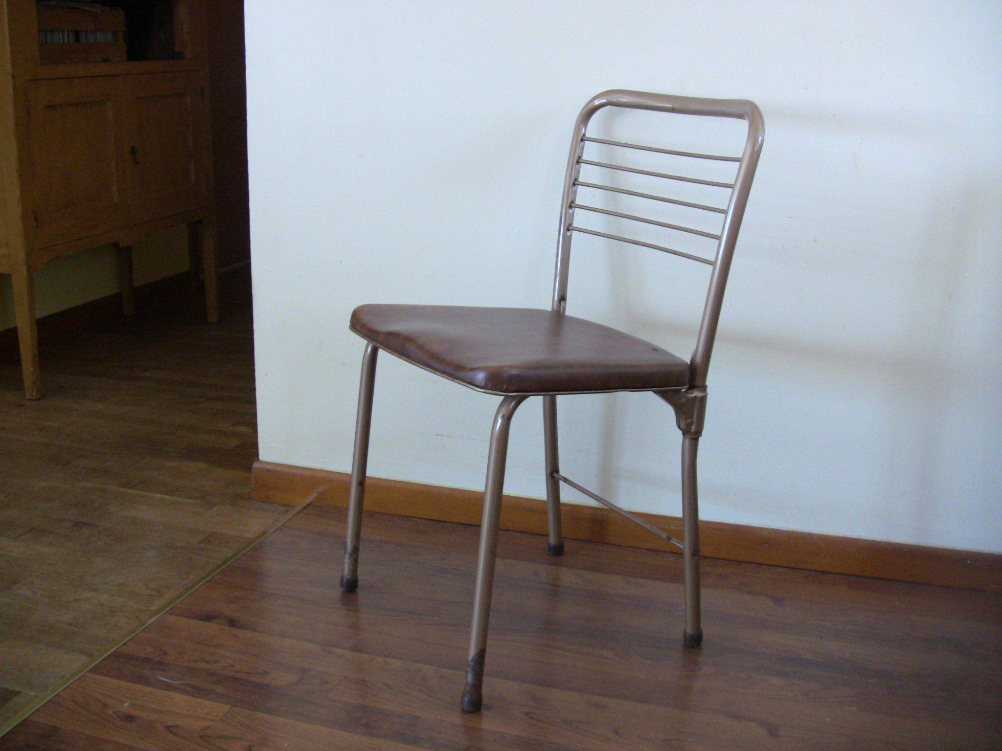 Vintage Mid Century Modern Metal Folding Chair Steel Cosco Vinyl