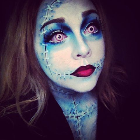 my daughter sally as sally stitchesmakeup done by herself - Where Can I Get Halloween Makeup Done