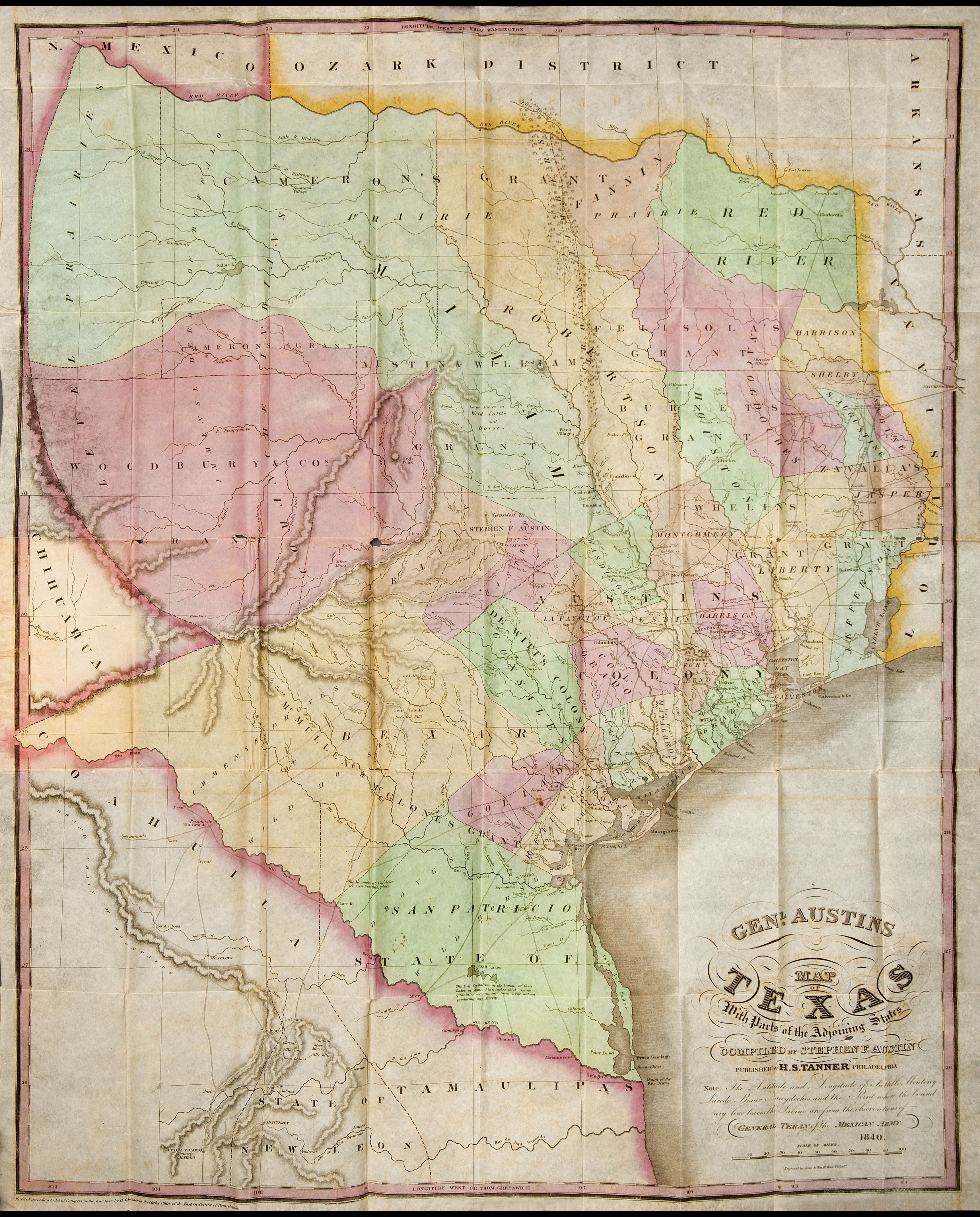1840 General Austin Map Historic Maps Of Texas And Mexico