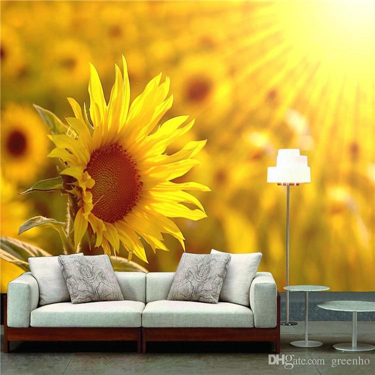 Sunshine sunflower wall mural photo wallpaper nature for Nature wallpaper for bedroom