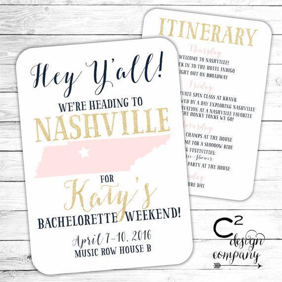 nashville bachelorette party invitation with itinerary wedding