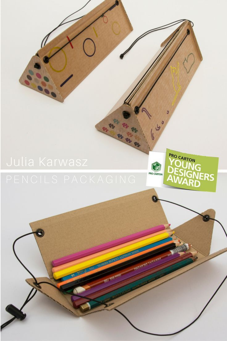 Packaging of colour pencils which can be used as a pencil case. The idea was to create an object which would be small when closed, but which would give access to pencils and expose them all when open. It's ecological, as made of corrugated fiberboard. Its graphic design (two versions: geometric motif or cats) encourages children to use the surface of the pencil case for their drawings. Easy in use and cheap in production.