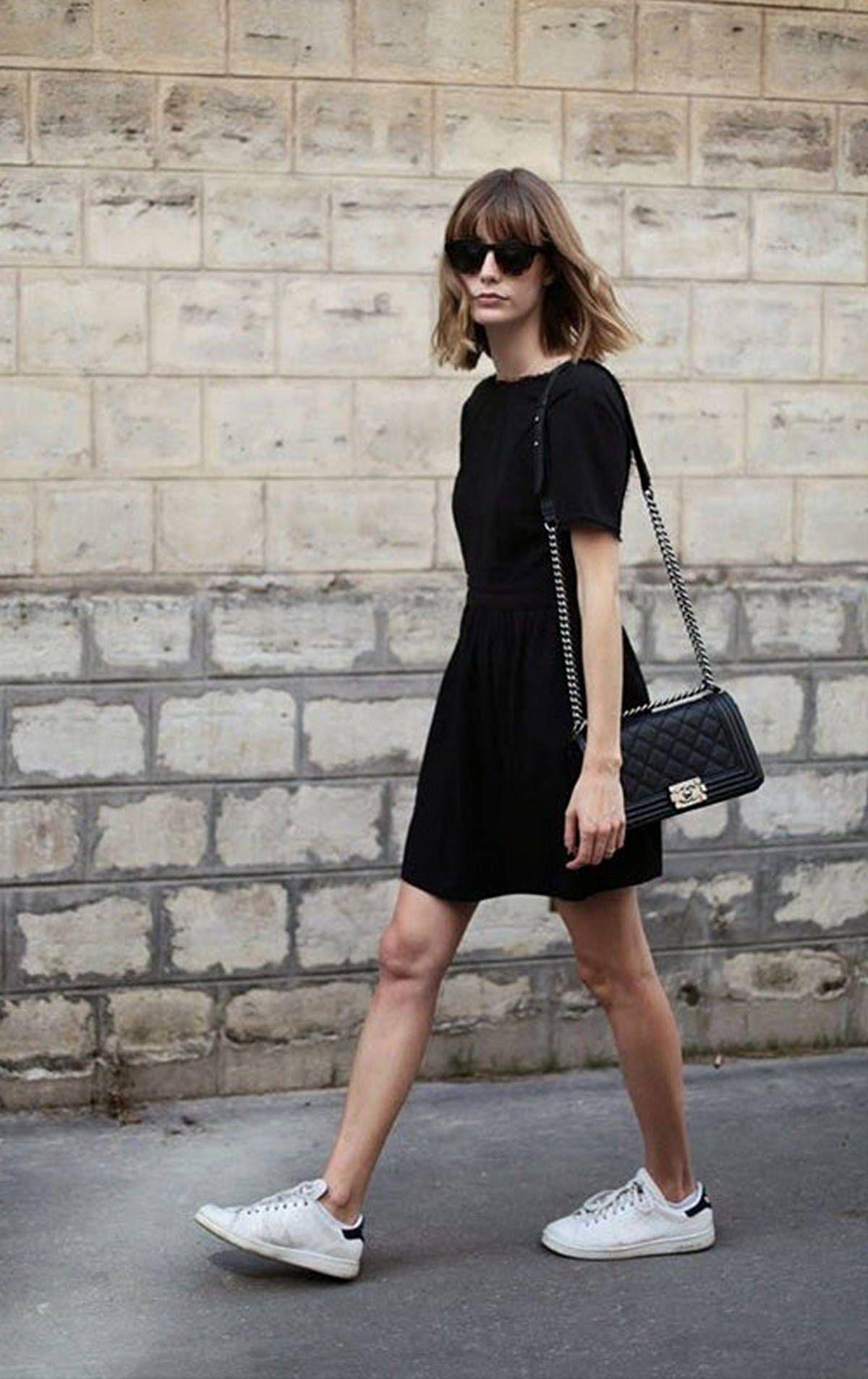 112 Women S White Sneakers Outfit Idea Dressfitme Dress And Sneakers Outfit Black Dresses Casual Wear Black Dresses [ 1906 x 1200 Pixel ]