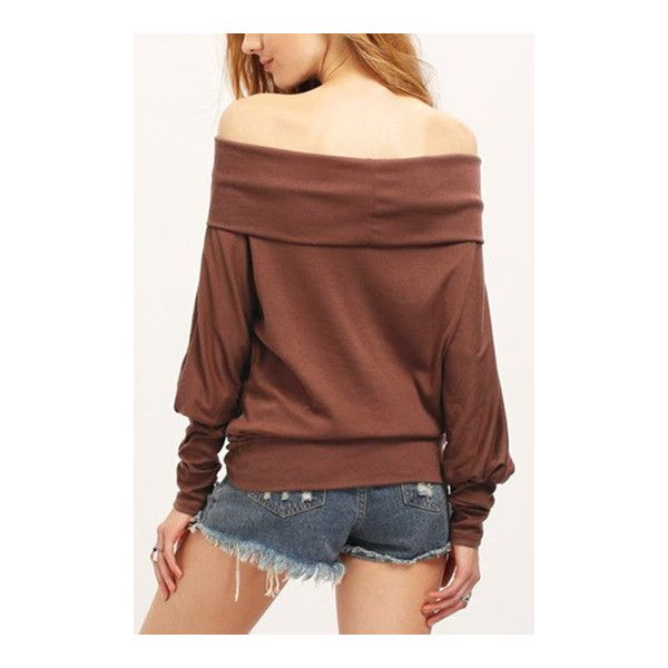 9ef822bd987b Yoins Coffee Off Shoulder Shirt ( 16) ❤ liked on Polyvore featuring tops