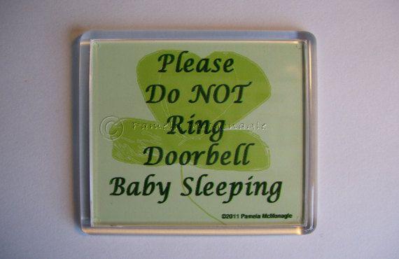 Do Not Ring Doorbell Sign Baby Sleeping Shamrock by WordsyWays, $5.99