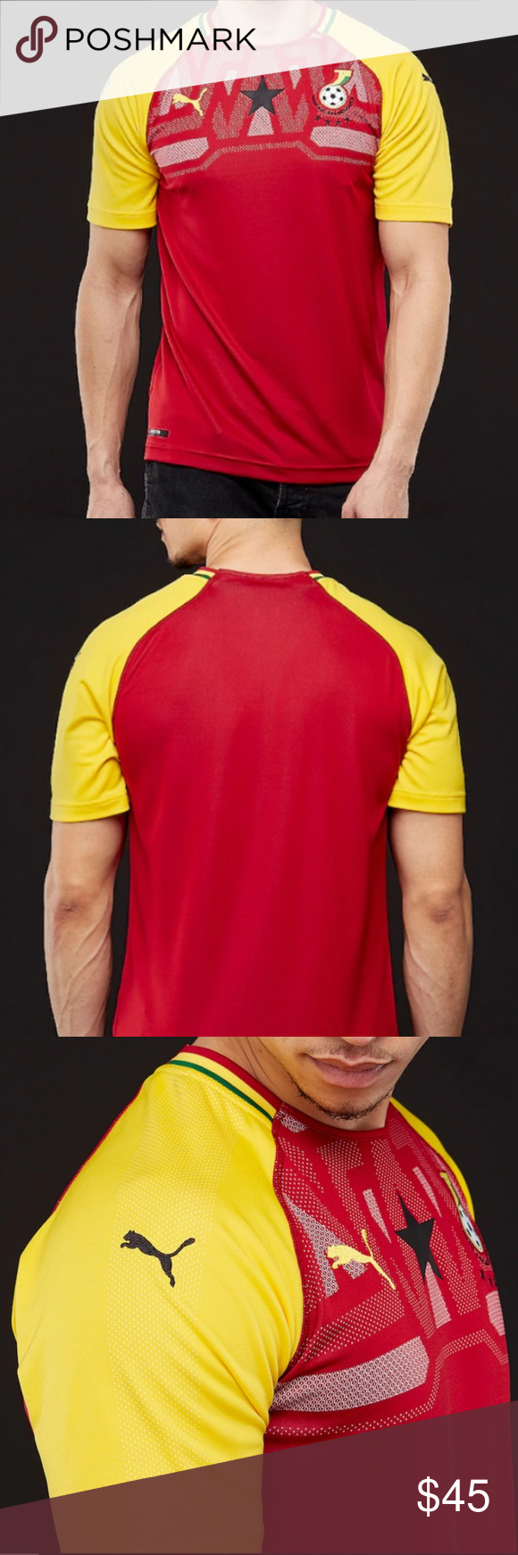 9113bc2fa Puma Men's GHANA Home Soccer Futbol Replica Jersey Represent your team with  the officially licensed Ghana