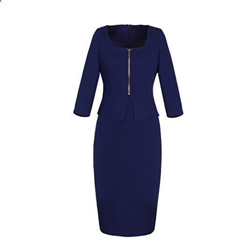 Threeseasons Women Navy Blue Business To Work Pencil Suit Dress S Go