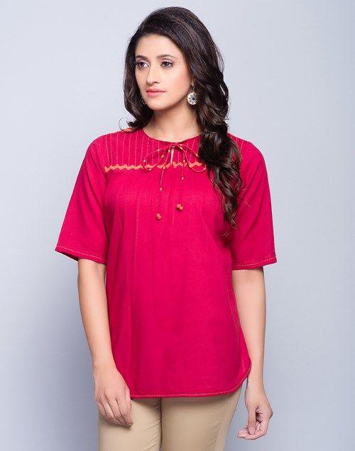 6608c7c8f4c Buy Fabindia Red Cotton Tie Up Neck Embroidered Short Kurta online -  Fabindia.com