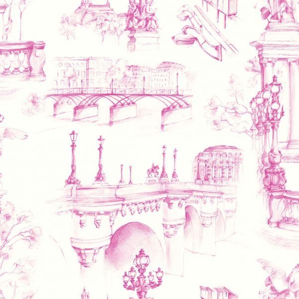 Tissu Paname Paris façon toile de Jouy coloris Rose