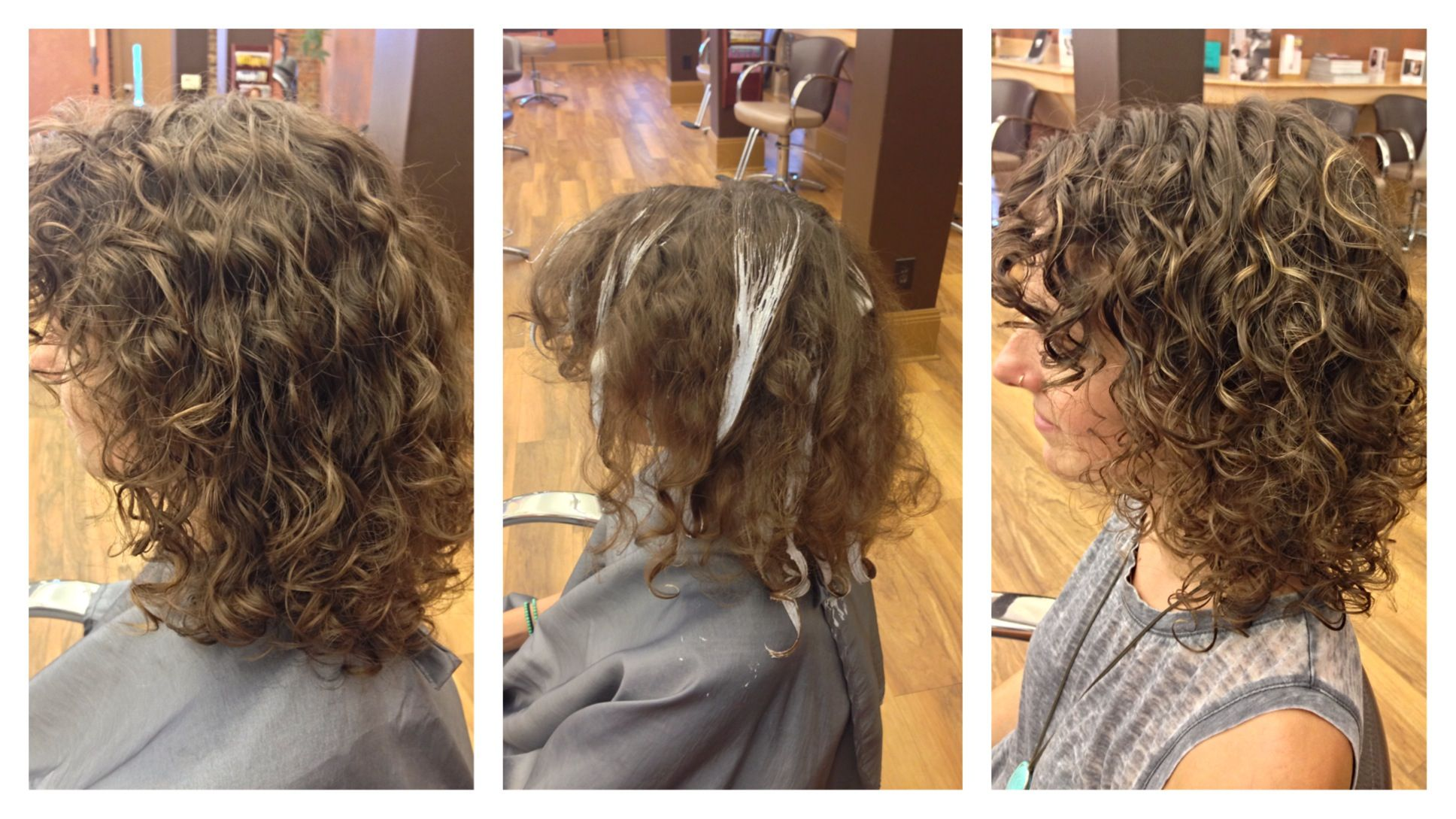 Before During And After Balayage Highlights In Curly Hair Subtle And Natural Chakras Spa Green Highlights Curly Hair Curly Hair Styles Balayage Highlights