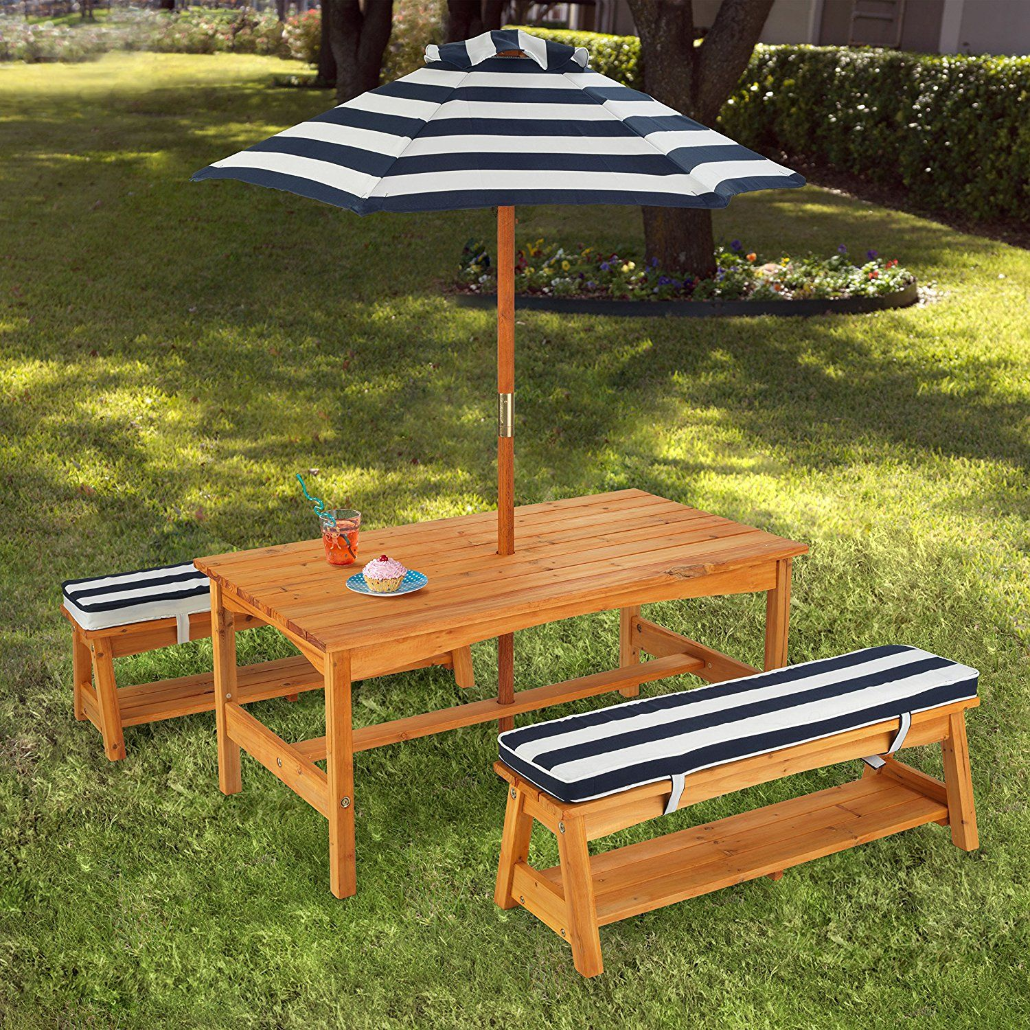 Kidkraft Outdoor Table And Chair Set With Cushions Navy Stripes Toys