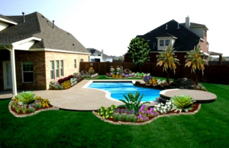 15 Inspiring Backyard Patio Ideas With Beautiful Pool Backyard Pool Landscaping Large Backyard Landscaping Backyard Landscaping Designs