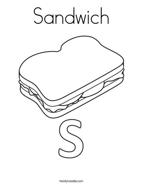 Sandwich Coloring Page Twisty Noodle Food Play Coloring Pages