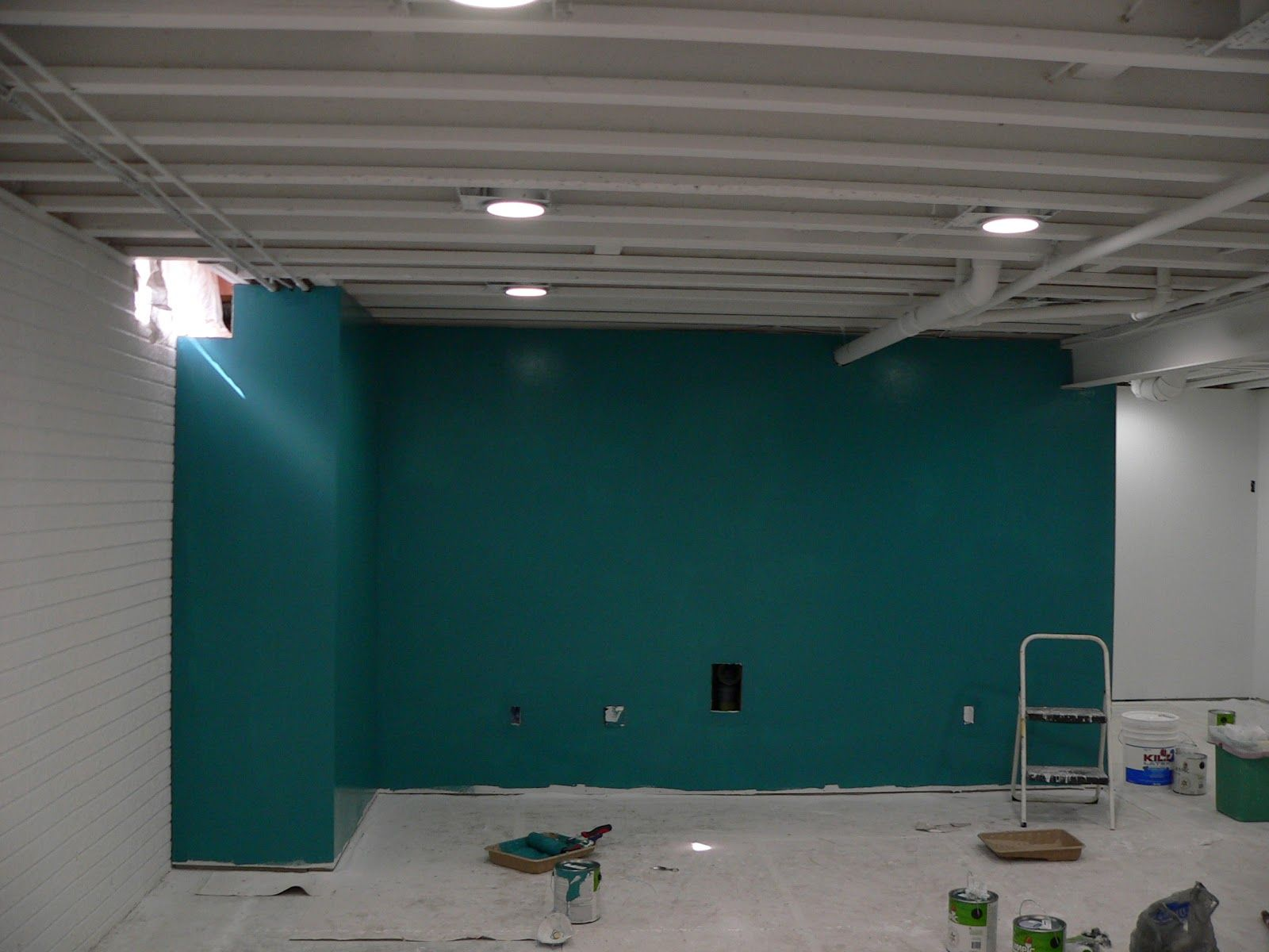 painted ceiling basement accent wall interesting still on paint for basement walls id=46244