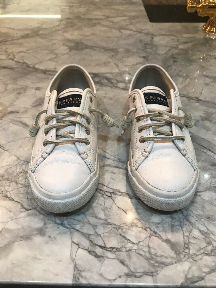 Sperry Womens Sneakers Seacoast White Leather Lace Up Shoes Size 6m Euc Fashion Clothing Shoes Acc Brown Womens Shoes Leather Oxfords Women Womens Sneakers