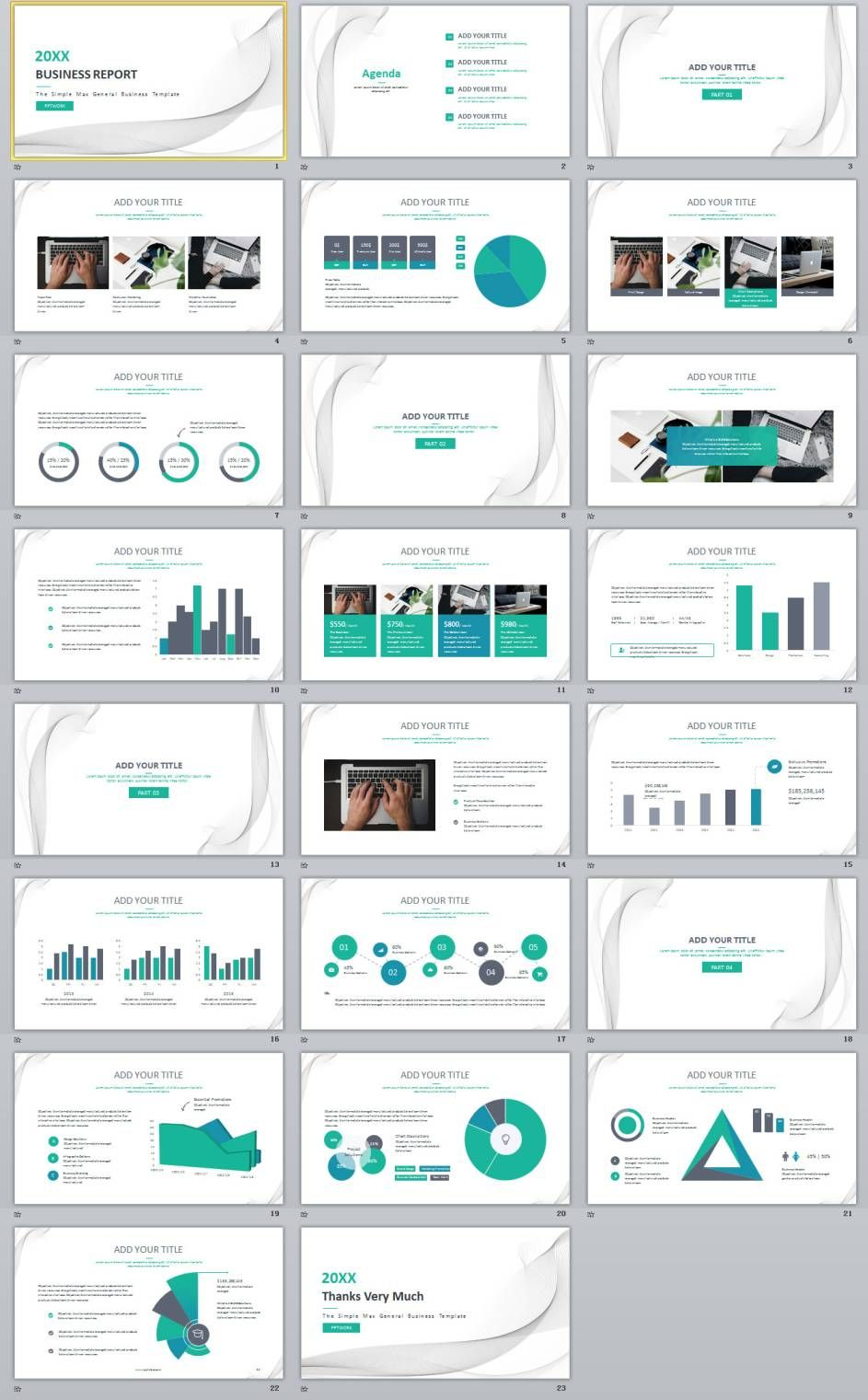 23 blue creative business chart report powerpoint templates
