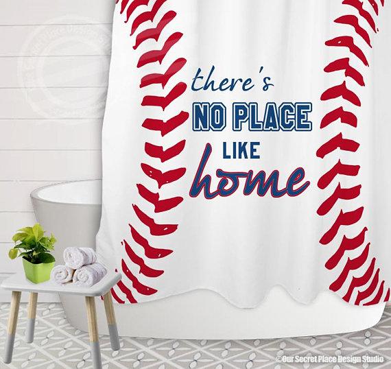 There S No Place Like Home Sports Baseball Shower Curtain Bathroom