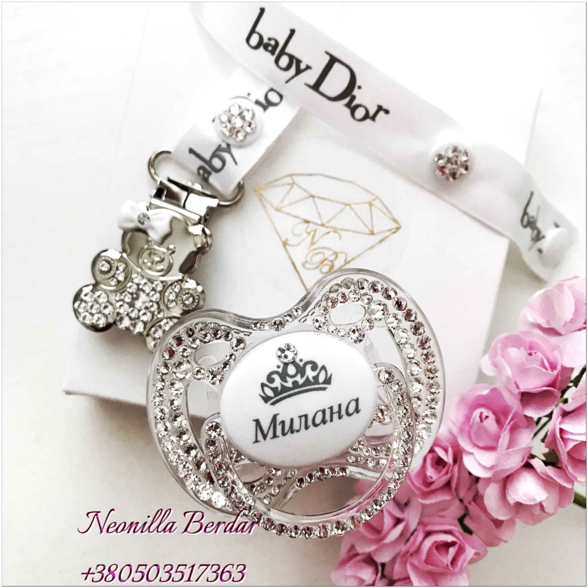 Personalized clear avent 0 6 month pacifier with swarovski crystals baby dior pacifier clip with swarovski elements httpinstagram negle Image collections