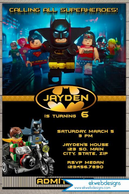Custom Lego Batman Movie 2017 Birthday Invitation