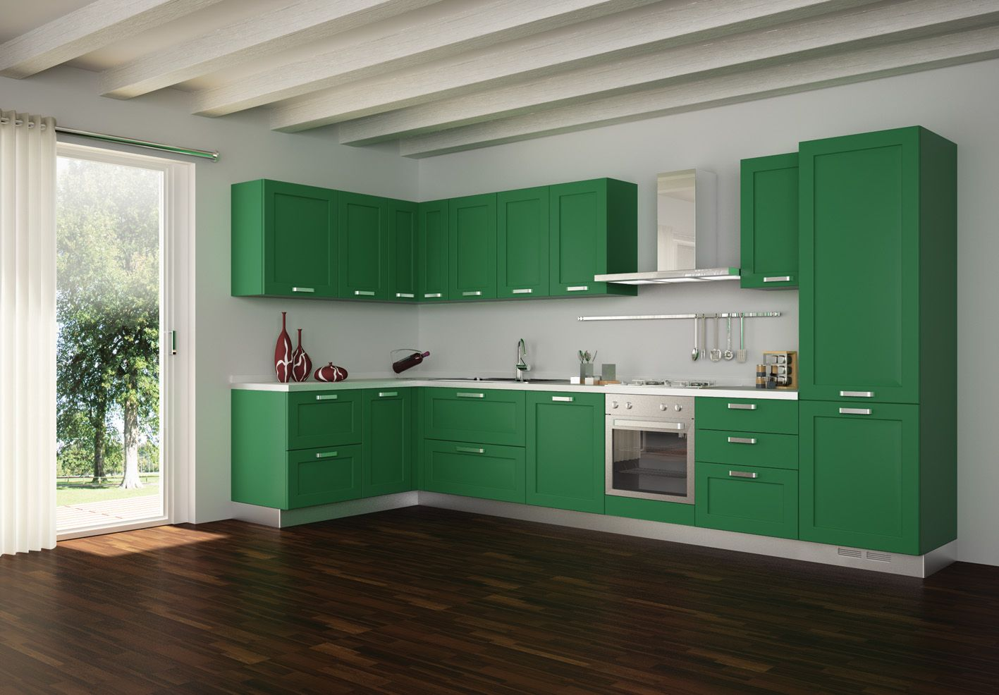 Fetching Pictures Of Green Kitchen Cabinets : Enthralling Teal Green Kitchen  Cabinet In Minimalist LShaped Kitchen