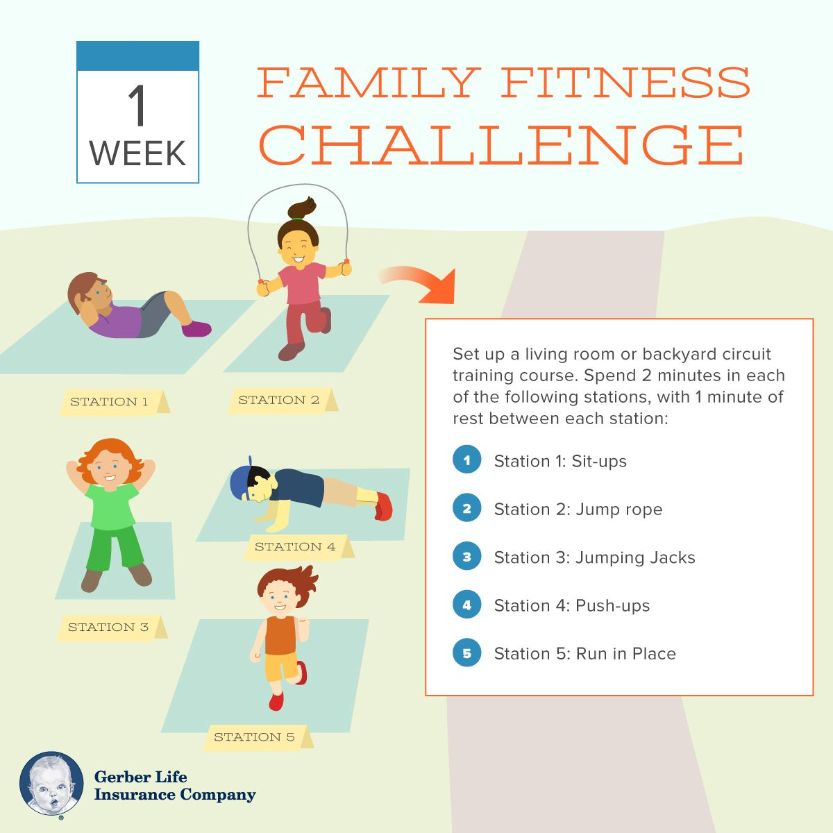 30 Day Family Fitness Challenge Gerber Life Insurance Blog Family Fitness Challenge Family Fitness Workout Challenge