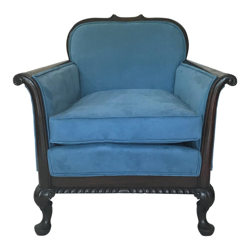 Best 1910S French Art Nouveau Blue Velvet Club Chair In 2019 400 x 300