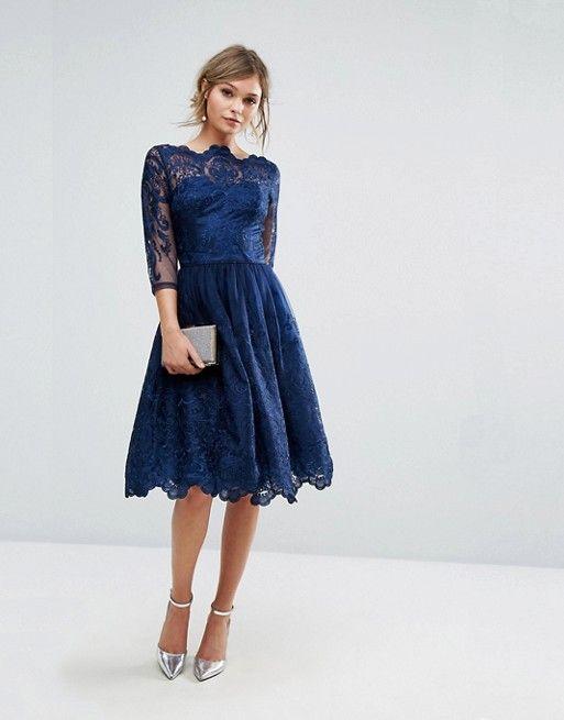 Chi Chi London Premium Lace Midi Dress With 3 4 Length Sleeve
