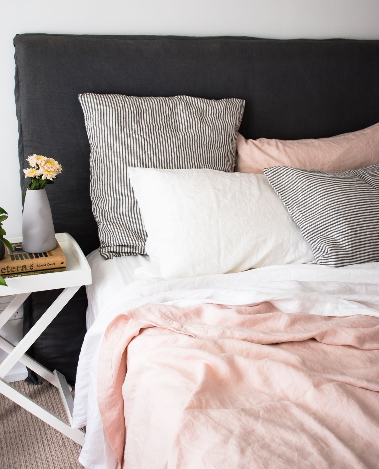 The Most Beautiful Soft Feminine Colour Paletter With Our Blush White And Charcoal Stripe Linen Sheets