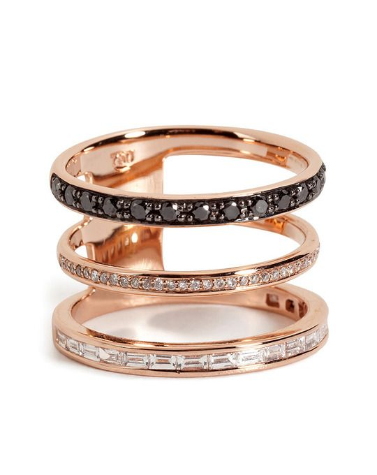 18kt Pink Gold 3 in 1 Ring with Black and White Diamonds by Nikos