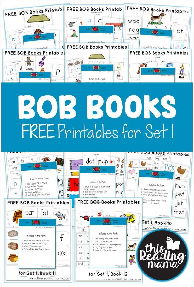 FREE Set 1 BOB Books Printables   Bobs, Homeschool and Phonics