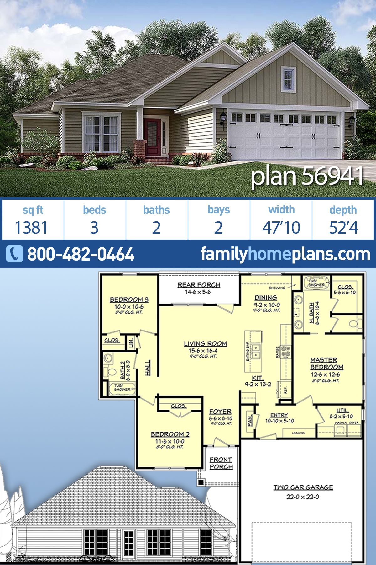 Traditional Style House Plan 56941 With 3 Bed 2 Bath 2 Car