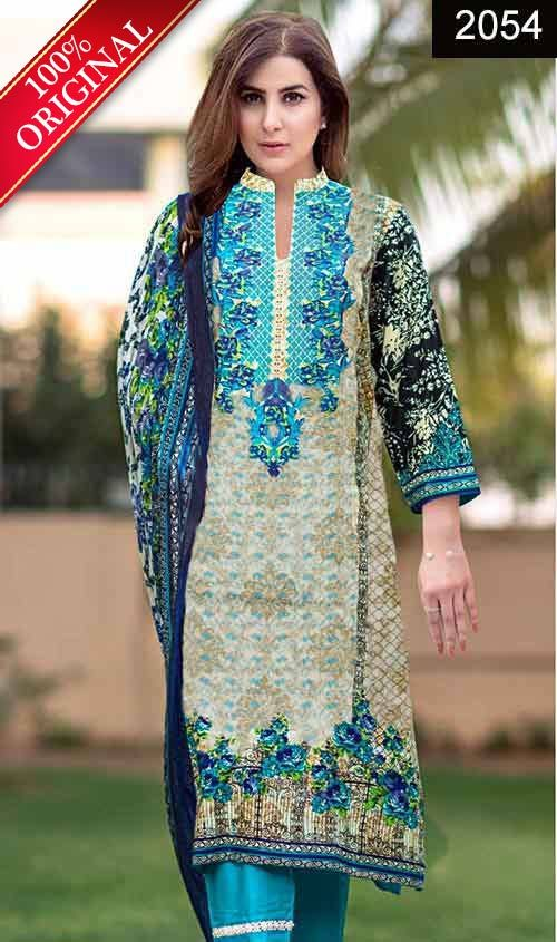 Wyss 2054 Full Front Embroidered Designer 3pc Lawn Suit With