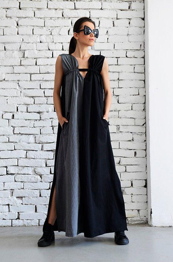 12aaf903d252 Grey and Black Maxi Dress Loose Kaftan Two Color Long Dress Side Pocket  Dress Oversize Black Tunic Grey Long Top Plus Size Dress