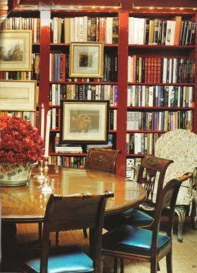 Like The Vibrant Red Of This Dining Room Library Combination