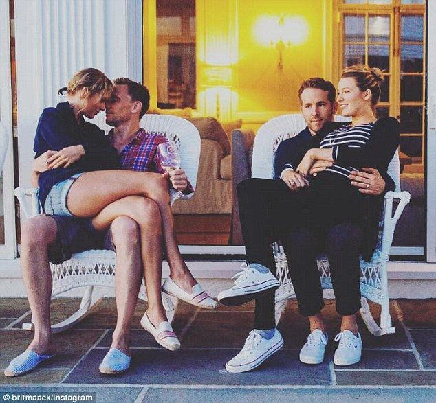 Still in America: While filming of the  blockbuster began on July 4, Tom was celebrating American Independence Day with new girlfriend Taylor Swift (left) and her famous friends Ryan Reynolds and Blake Lively (right)