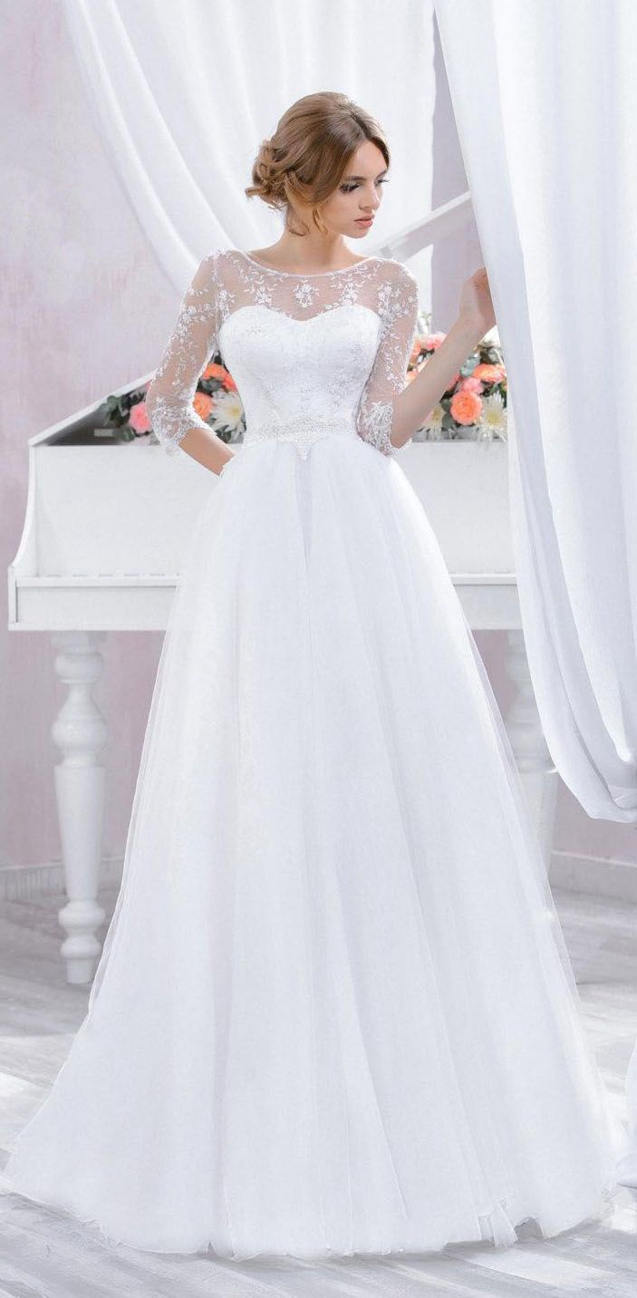 Lace dress open back   Sleeve Tulle Lace Dress With Beading  Wedding dress backless