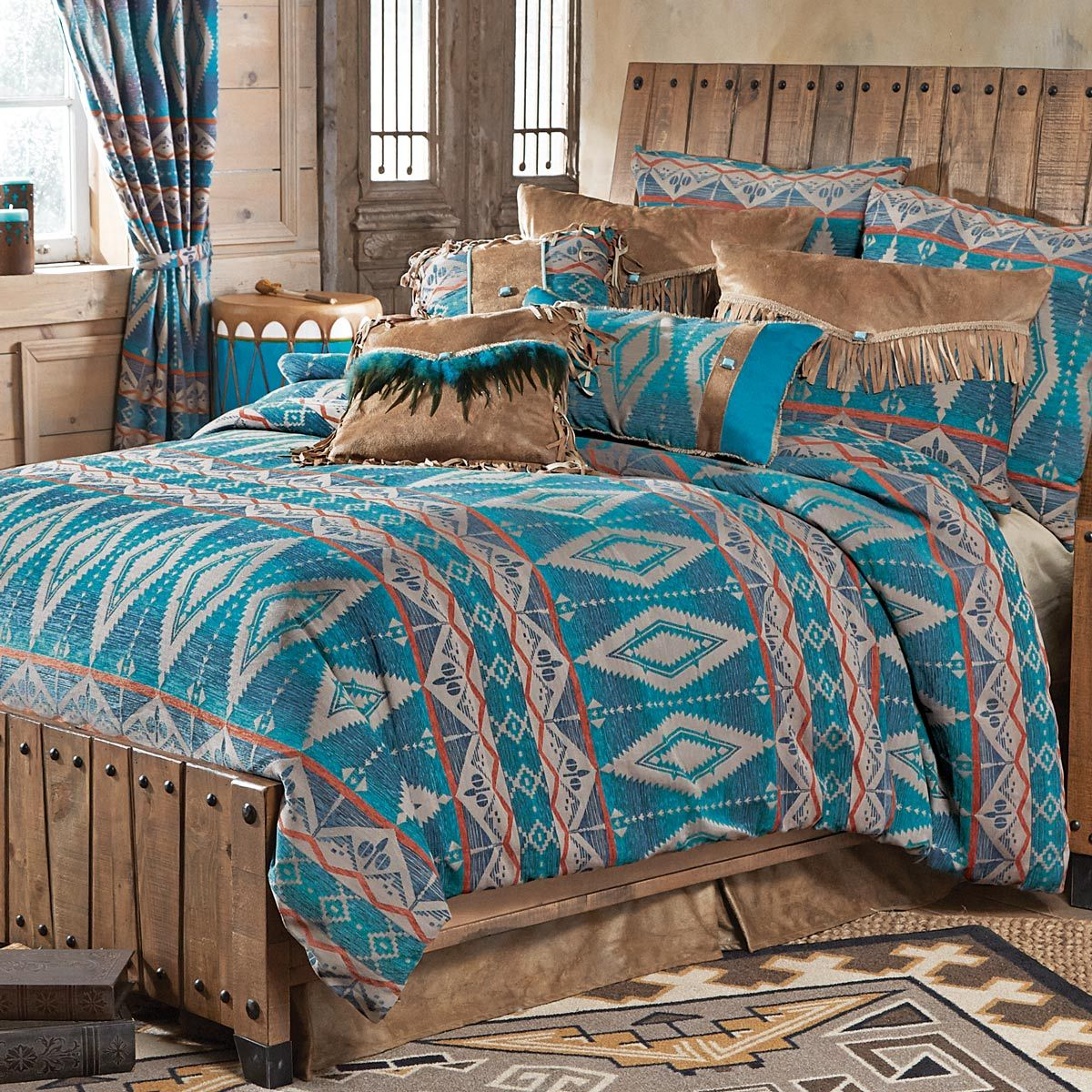 Turquoise Diamond Southwest Chenille Bed Set King Bed Bedding