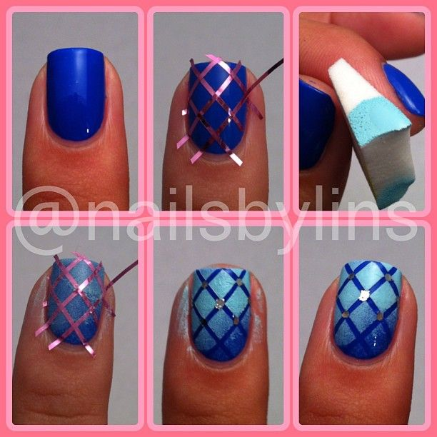 Step By Step Nail Art Using Tape: Gradient Quilted Nailart