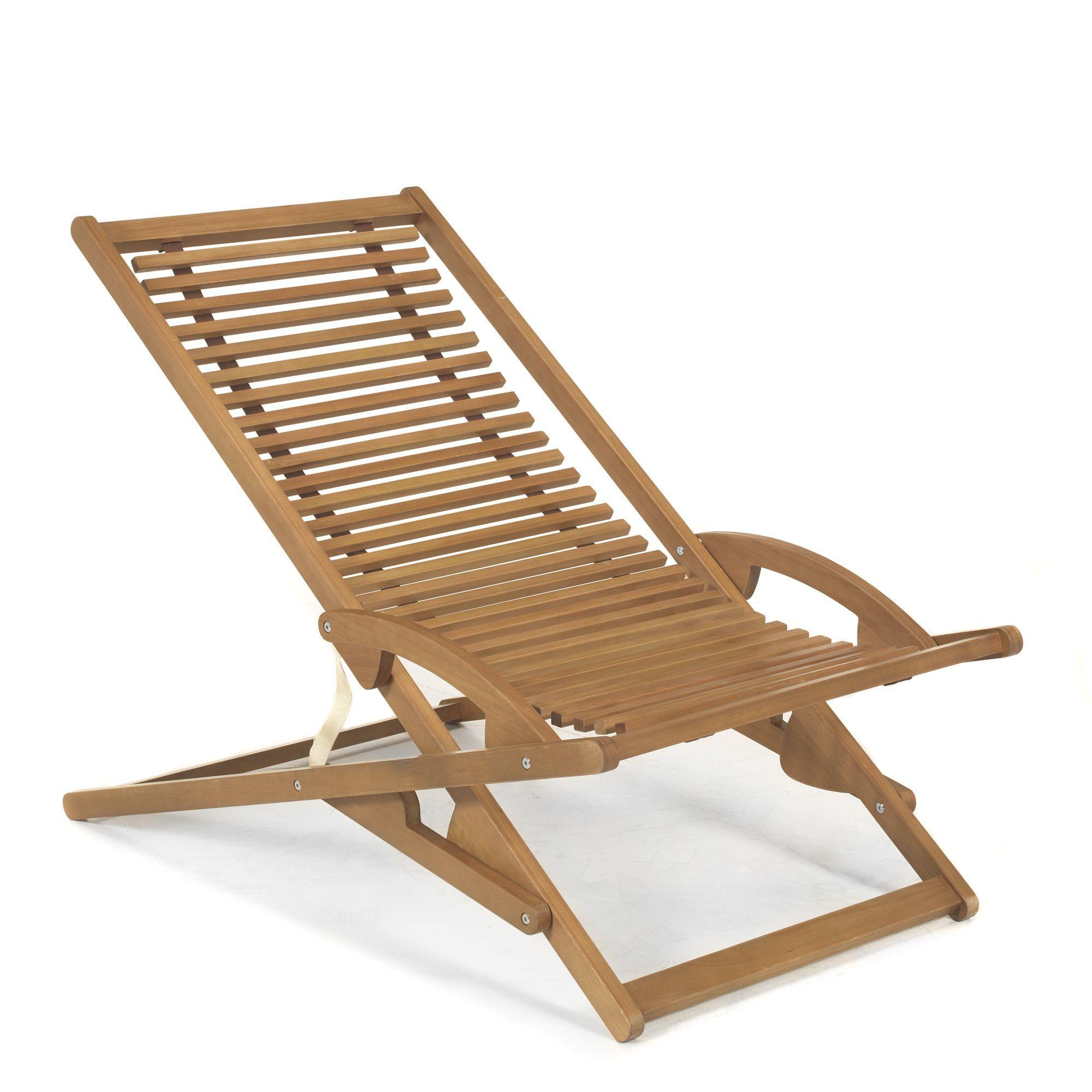 Chaise longue de jardin basculante  chilienne Naturel