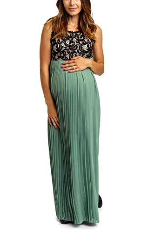 2f4daaca7b49 This beautiful maternity dress is perfect for attending a wedding, your  baby shower, or any event! Maternity Pleated Chiffon Lace Top Maxi Dress,  ...