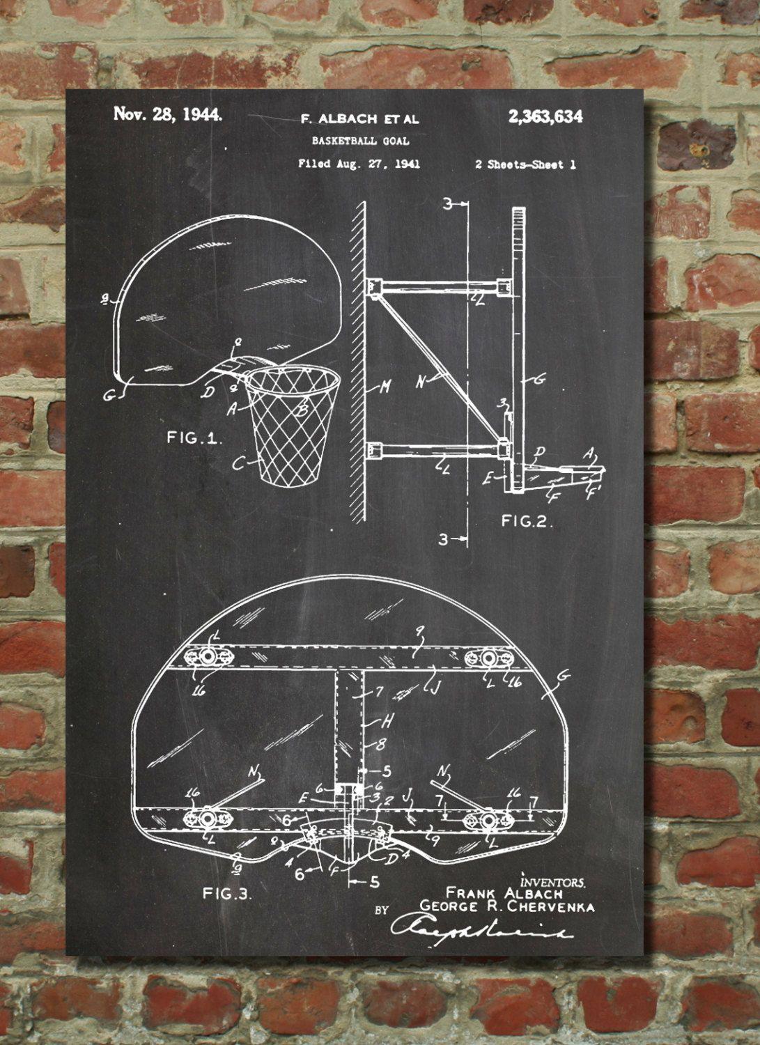 Basketball goal patent print basketball coach gift