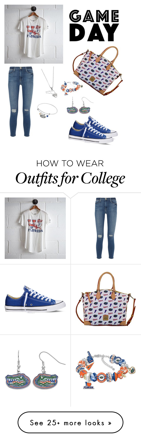 """Game Day!  Go Gators!"" by iz101 on Polyvore featuring American Eagle Outfitters, Frame Denim, Dooney & Bourke, Dayna U, The Bradford Exchange, Fiora and Converse"