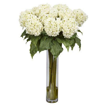 Hydrangea Floral Arrangement In Glass Vase Hydrangea Flower Arrangements Hydrangea Arrangements Silk Hydrangeas Arrangements