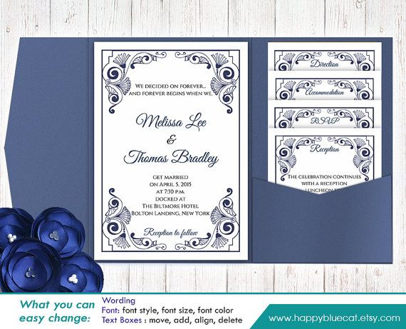 DiY Printable Pocket Wedding Invitation Template SET- Instant - ms word invitation templates free download